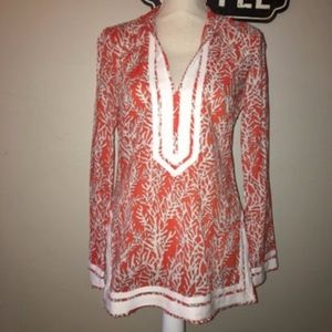 Tory Burch Orange And White Coral Tunic Size 4